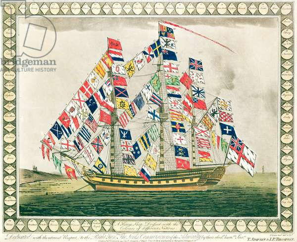 A King's Ship dressed with the colours of different nations, 6th October 1794 (colour litho)