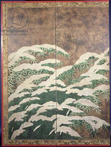 Bamboo in snow, c.1600 (ink, colours, gold and silver on paper)