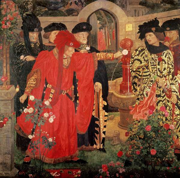 Choosing the Red and White Roses in the Temple Garden, 1910 (fresco)