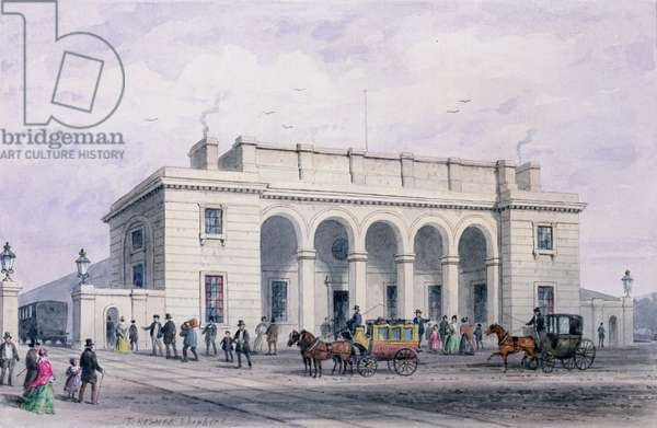 The South-Western Railway Station at Nine Elms Vauxhall, 1856 (w/c on paper)
