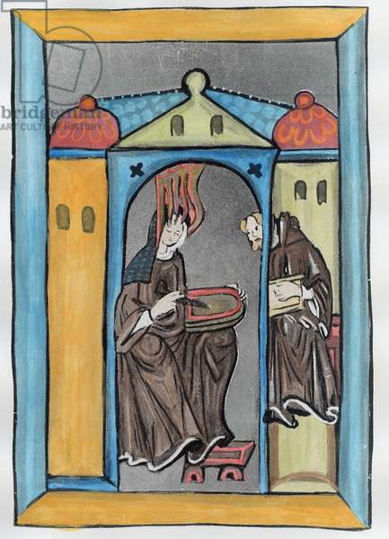 Hildegard of Bingen receiving the Light from Heaven, c.1151 (vellum) (later colouration)