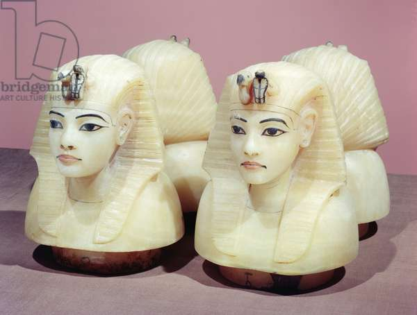 Canopic urns, from the tomb of Tutankhamun, New Kingdom (alabaster) (see also 383303, 149422 and 149486)