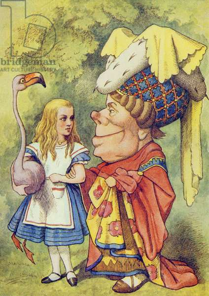 Alice with the Duchess, illustration from 'Alice in Wonderland' by Lewis Carroll (1832-9) (colour litho)