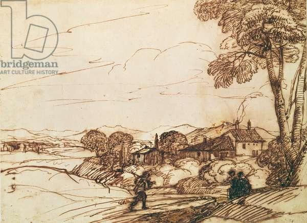 Landscape (pen and bistre and wash on paper)