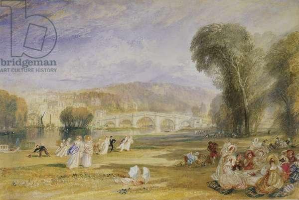 Richmond Hill and Bridge, Surrey, c.1828-9 (watercolour)