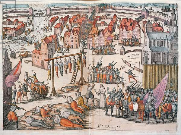 Spanish Soldiers killing Protestants in Haarlem, c.1567 (colour engraving)