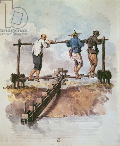 Watering the rice field with a chain pump (w/c on paper)