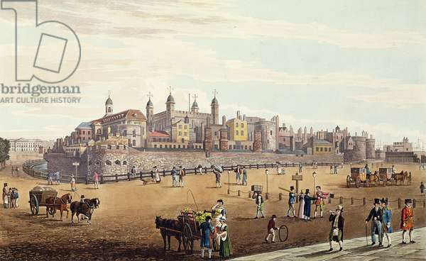 View of the Tower of London and the Mint, pub. by Colnaghi & Co, 1821 (coloured aquaint)