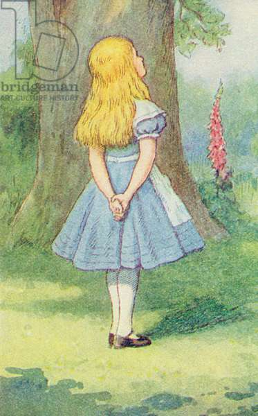 Alice and the Cheshire Cat, illustration from 'Alice in Wonderland' by Lewis Carroll (1832-9) (colour litho) (detail of 264483)