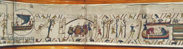 When Duke William hears of Harold's Coronation he orders ships to be built in preparation for invasion, Bayeux Tapestry (wool embroidery on linen)