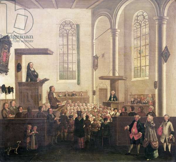 A Service in Old Cripplegate Church (oil on canvas)