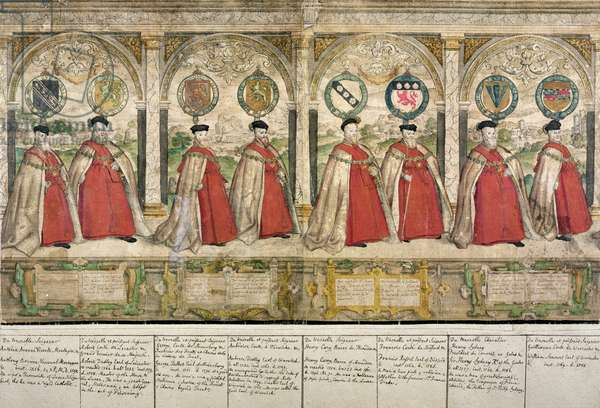 Imaginary Composite Procession of the Knights of the Garter at Windsor, engraved by Marcus Gheeraerts the Elder (1521-86) 1576 (coloured etching)