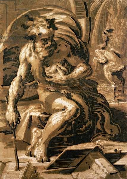 Diogenes, engraved by Ugo da Carpi (1470/80-1532) (chiaroscuro woodcut)