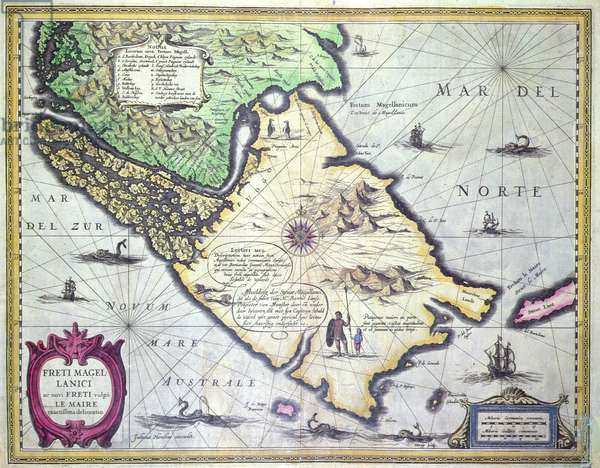 Map of the Magellan Straits, Patagonia (colour engraving)