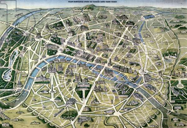 Map of Paris during the period of the 'Grands Travaux' by Baron Georges Haussmann (1809-91) 1864 (coloured engraving)