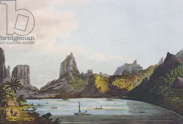 View of the Harbour of Taloo in the Island of Eimeo, from 'Views in the South Seas', pub. 1789 (etching)