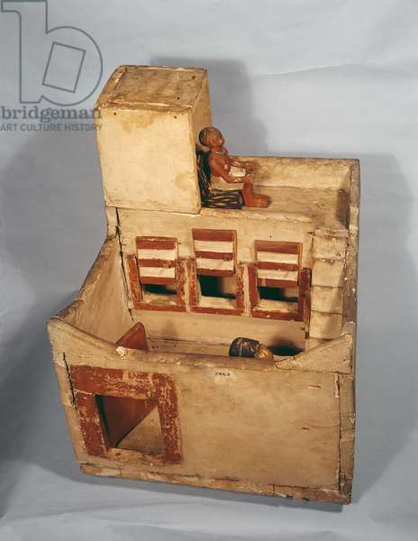 Wooden model of a granary with figures, c.2000-1800 BC (wood)