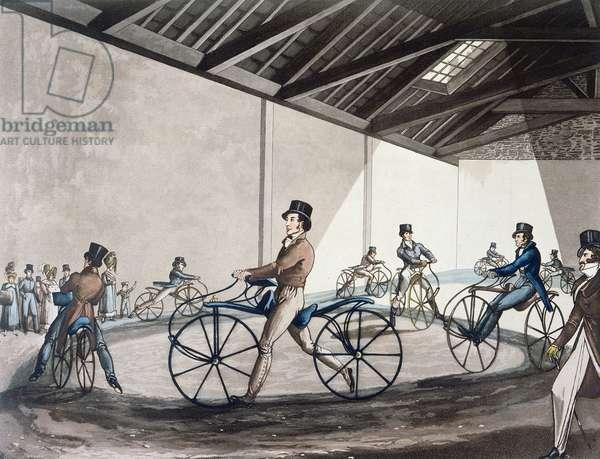 Johnson's Pedestrian Hobbyhorse Riding School, 1819 (colour litho)