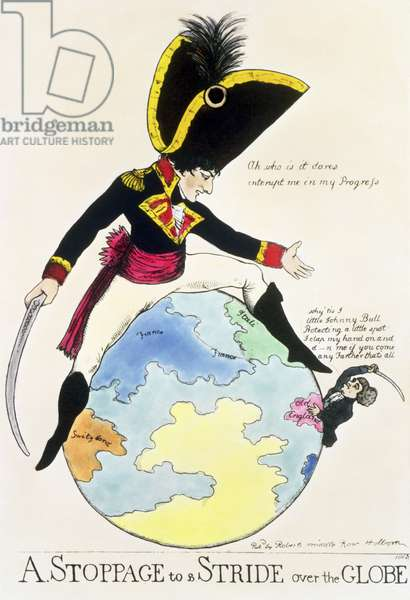 A Stoppage to a Stride over the Globe, 1803 (litho)