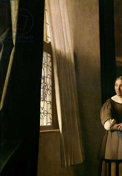 Lady writing a letter with her Maid, c.1670 (oil on canvas) (detail 2353)