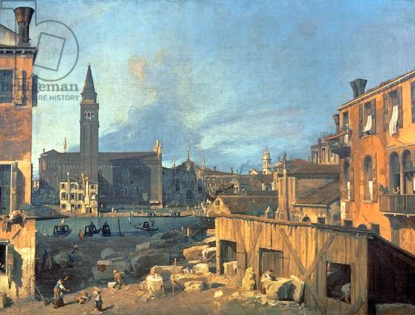 Venice: Campo San Vidal and Santa Maria della Carita (The Stonemason's Yard) 1727-28 (oil on canvas)