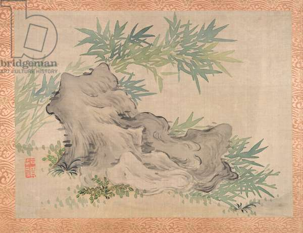 Bamboo and Rocks, 1851 (watercolour on silk)