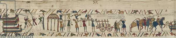 Normans carrying arms to the ships and pulling a cart loaded with wine and arms, Bayeux Tapestry (wool embroidery on linen)