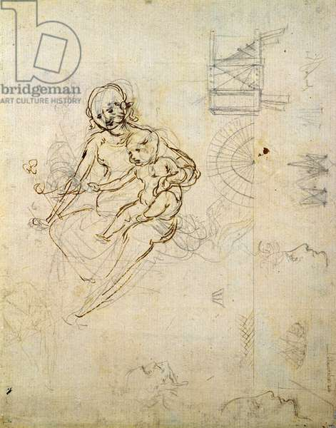 Studies for a Virgin and Child and of Heads in Profile and Machines, c.1478-80 (pencil and ink on paper)