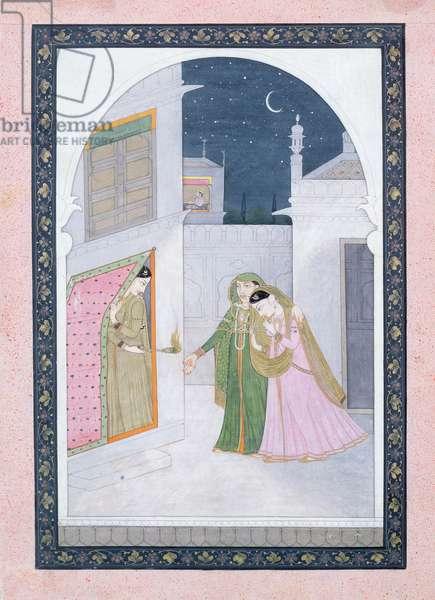 The Timid Bride, Kangra, c.1820 (gouache on paper)
