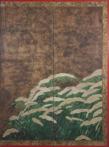 Bamboo in the snow, c.1600 (ink, colour, gold and silver on paper)