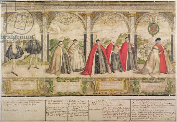 Imaginary Composite Procession of the Knights of the Garter, engraved by Marcus Gheeraerts the Elder (1516/20-c.1604) 1576 (coloured etching)