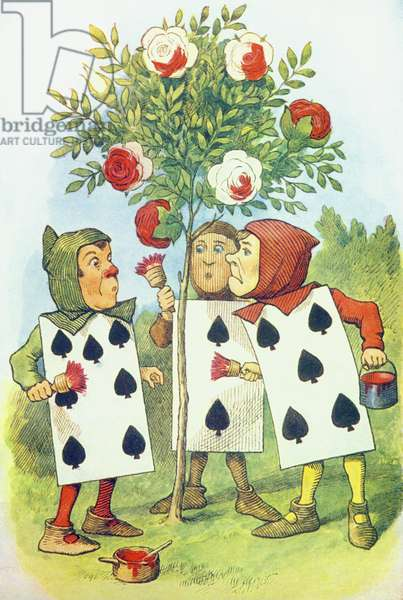The Playing Cards Painting the Rose Bush, illustration from 'Alice in Wonderland' by Lewis Carroll (1832-9) (colour litho)