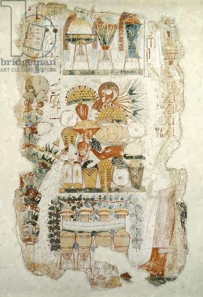 Nebamun receiving offerings from his son, from the Tomb of Nebamun, c.1350 BC (mural)