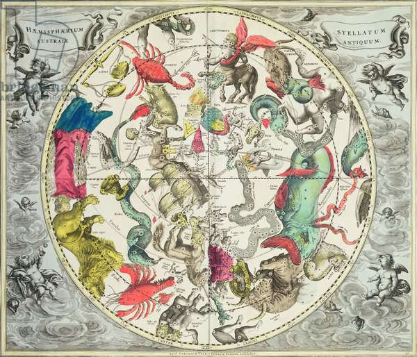 Map of the Southern Hemisphere, from 'The Celestial Atlas, or The Harmony of the Universe' (Atlas coelestis seu harmonia macrocosmica) pub. by Joannes Janssonius, Amsterdam, 1660-61 (hand coloured engraving)