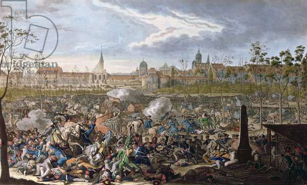 Battle of Leipzig, 19th October 1813 (colour engraving)