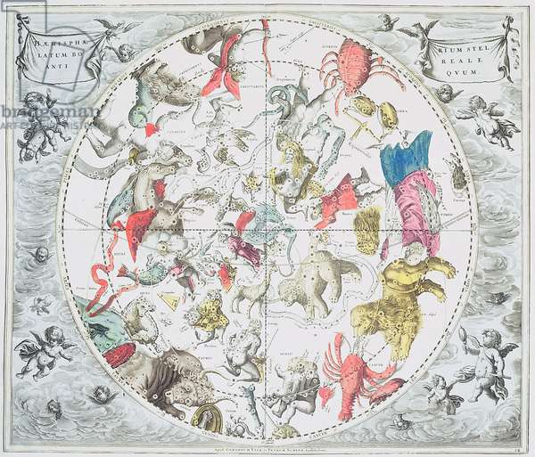 Celestial Planisphere Showing the Signs of the Zodiac, from 'The Celestial Atlas, or The Harmony of the Universe' (atlas coelestis seu harmonia macrocosmica) pub. by Joannes Janssonius, Amsterdam, 1660-61 (hand coloured engraving)