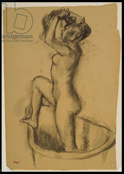 Woman Standing in a Bathtub, c.1890-92 (charcoal with stumping on beige wove paper)