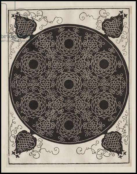 Fourth Knot, 7 circular groups of knots with black centres, c.1506 (woodcut)