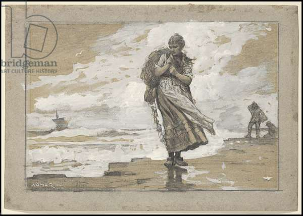 Fisher Girl with Net, 1882 (graphite, gouache & grey wash on grey laid paper)