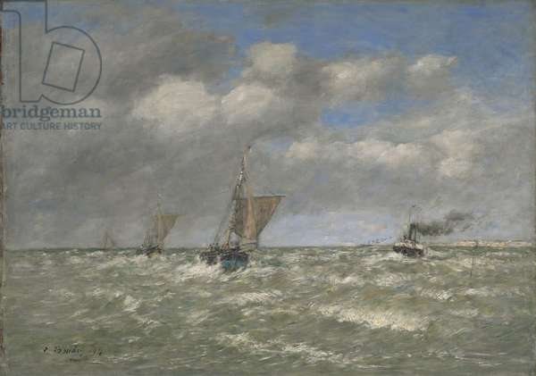 Boats Returning to Port, Trouville, 1894 (oil on canvas, marouflaged to aluminum)