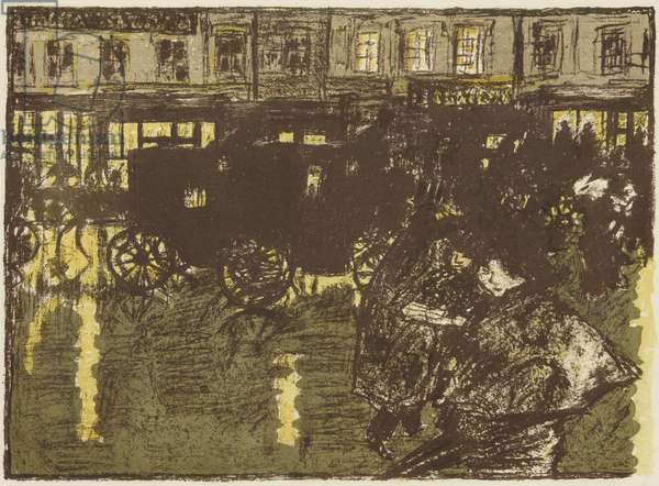 Some Aspects of Life in Paris, 11: A Street on a Rainy Evening, c.1898 (litho in beige, bistre, greenish-gray, blue & yellow on wove paper)