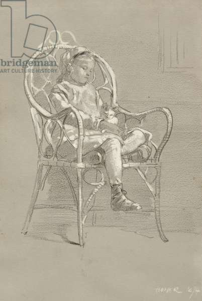 Child Seated in a Wicker Chair, 1874 (crayon & gouache with graphite on grey wove paper)
