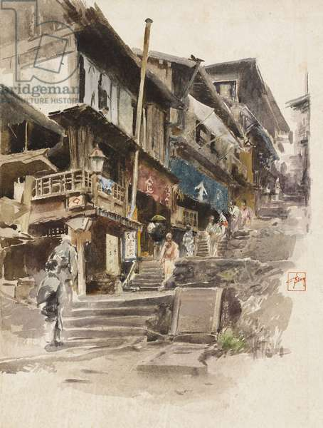A Street in Ikao, Japan II, 1890 (w/c over pencil on paper)