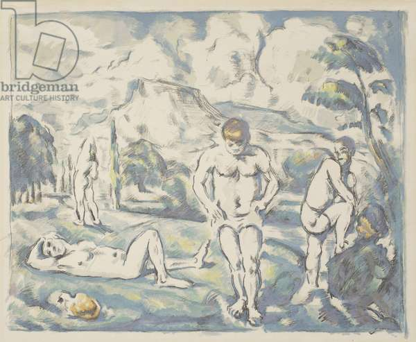 The Bathers: Large Plate, 1898 (litho printed in black, green, yellow-green, orange, gray, blue, and purple-blue on cream laid paper)