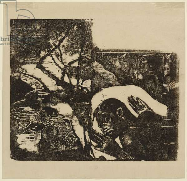 Manao Tupapau (She is Thinking of the Ghost), April 1891-Sept. 1893 (woodcut in black on Japan paper)