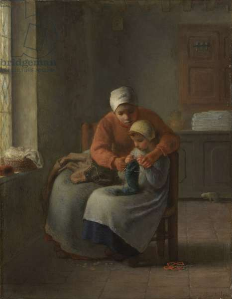 The Knitting Lesson, c.1860 (oil on panel)