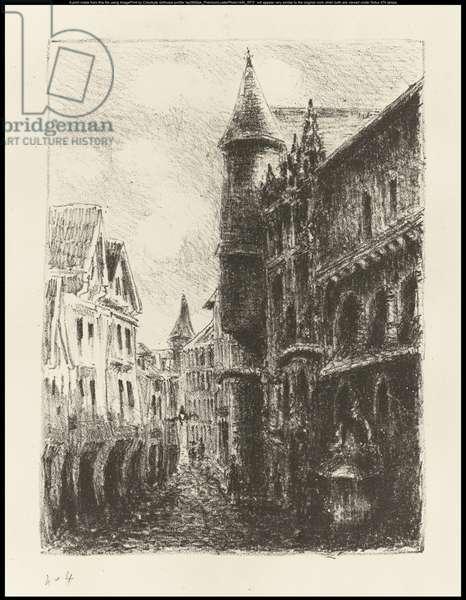 Rue Saint-Romain, Rouen, 1st plate, 1896 (litho on paper)