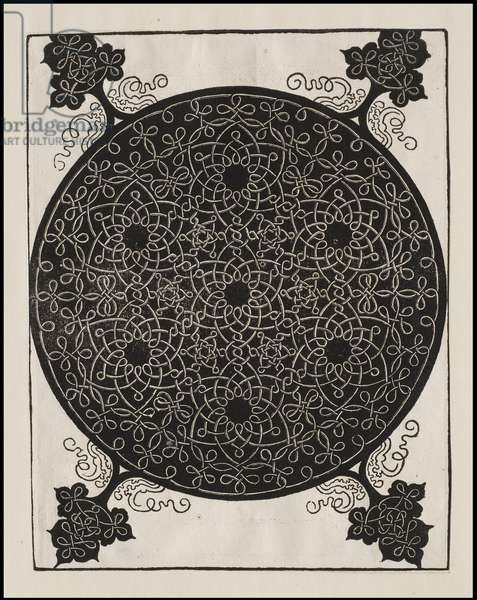 Sixth Knot, 7 small systems of knots with black centres, c.1506 (woodcut