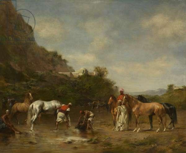 Arabs Watering Their Horses, 1872 (oil on panel)