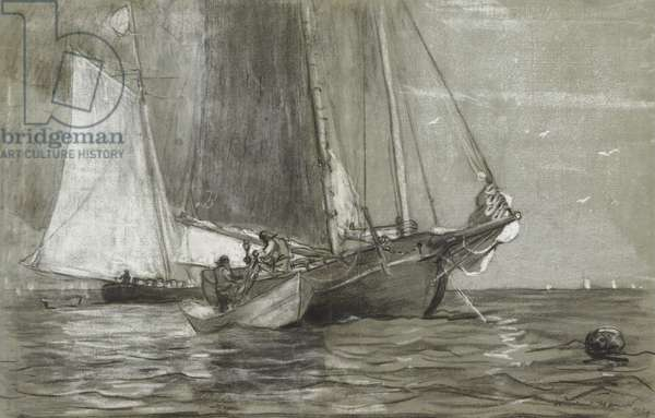 Schooner at Anchor, 1884 (black & white chalks on grey-green laid paper)